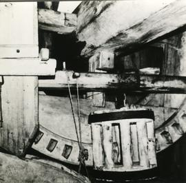 Brake wheel and lantern pinion in a toe mill in Föglö, Åland