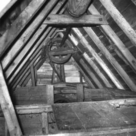 View of bin floor showing sack hoist, Oldland Mill, Keymer