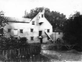 Hall Place Mill, Bexley, from road with posed figures