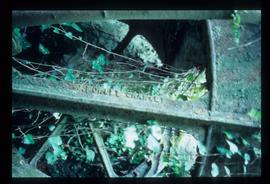 Derelict and overgrown iron waterwheel