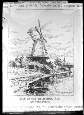 Photograph of page from book showing sketch of smock mill