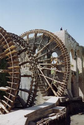 Wheels and part of building, Waterwheel, Hama