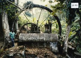 Photograph of the water wheel and boiler at Franklyn Mill, Tobago