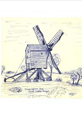 Freehand sketch of Toddington mill 1835