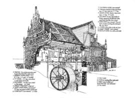 Detail 3D drawing of Bourne watermill