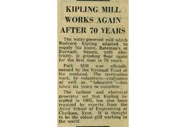 """Kipling mill works again after 70 years"""