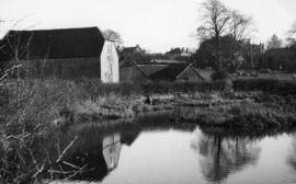 View across the millpond, watermill, Storrington