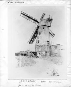 Photograph of sketch before conversion, St Martin's Mill, Canterbury