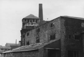 Detail view of derelict buildings and chimney, Ouse Burn Mills, Newcastle upon Tyne