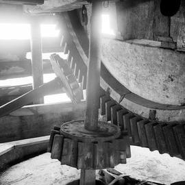 Detail view showing part of gearing, Shelford Mill, Newton
