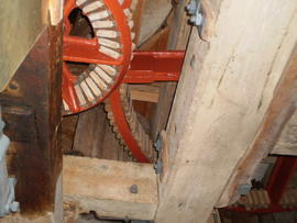 Stevens' Mill, Burwell; great spur wheel, upright shaft support frame and engine drive nut