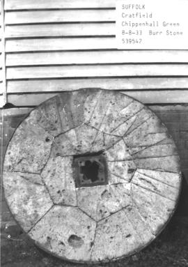 Burr stone from the post mill in Chippenhall Green, near Cratfield, Suffolk