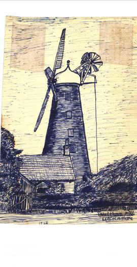 Freehand sketch of Waltham mill Lincolnshire