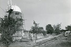 Three sails under construction, tower mill, Thelnetham