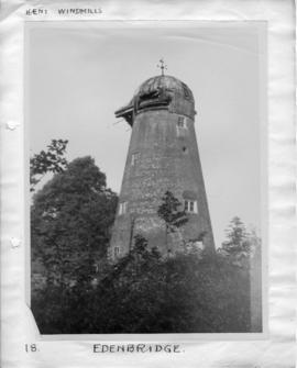 Tower mill, Edenbridge, with no sweeps or fantail; cap breaking up