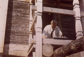 Rex Wailes on the porch of a toe mill in Temmes, North Bothnia