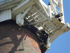 Looking up at winding gear, Stracey Arms Mill, Tunstall