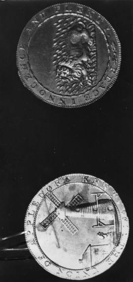 Obverse and reverse of trade token, Union Mill, Appledore