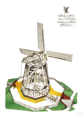 Dutch drainage mill 'isometric'