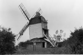 Post mill, Drinkstone, surrounded by hedges