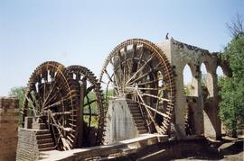 Two wheels and part building, Waterwheel, Hama