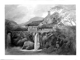 Painting of a water mill with an elevated supply