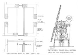 Rattlesden Mill: Smock mill base and reconstruction