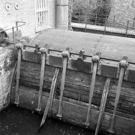 Side of waterwheel and sluices, Pymore Mill, Bradpole