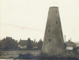 Derelict tower with outbuildings demolished, tower mill, Rodmersham Green