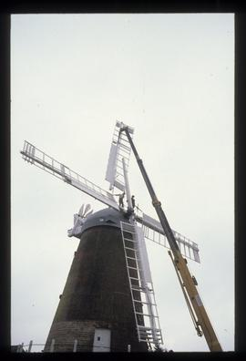 New sail being lifted into position by crane, Ovenden's Mill, Polegate