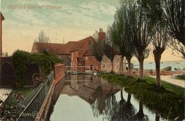 View from stream of building and estuary, watermill, Bosham