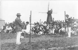 Drapers Mill, Margate, sports event with rear view of mill in background
