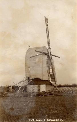 View from across a field, post mill, Brenzett