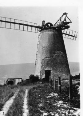Ocklynge Tower Mill, Eastbourne, in a disused and derelict condition