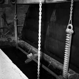 Detail of chains and ratchets, watermill, Clapton