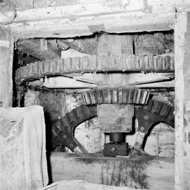 Detail of pit wheel, wallower and spur wheel, Sadborow Mill, Thornecombe