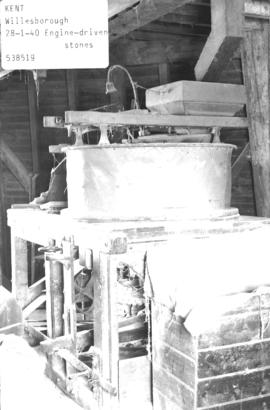 Engine-driven stones in the smock mill in Willesborough, Kent