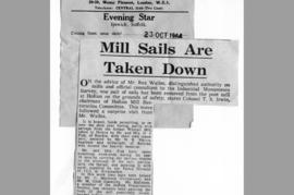 """Mill sails are taken down"""