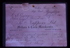 Photograph of invoice for work at roller mills