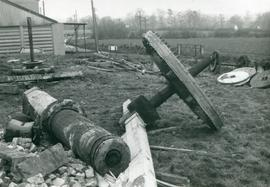 Remains from Moreton post mill, main post, brakewheel and cast windshaft