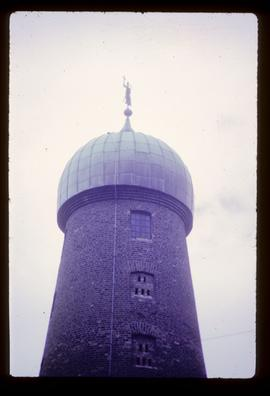 Close-up of top of tower and cap, St Patrick's Distillery, Dublin