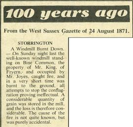 """100 years ago - from the West Sussex Gazette of 24 August 1871"""