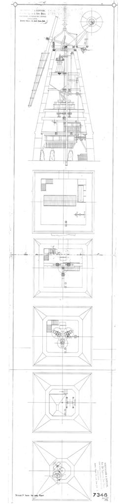 Section through mill and floor plans