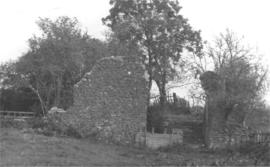 Ruined remains of stone and brick walls, Bone Mill, Lenham