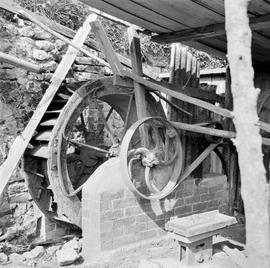 Secondary waterwheel in a new housing, Sadborow Mill, Thornecombe