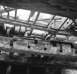 Second floor with drive mechanism visible through gap, West Mill, Sherborne