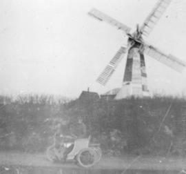 White Mill, Lyminge, with motorbike