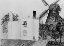 Painting of house and working mill