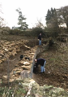 Stone walling at Heage Tower Mill