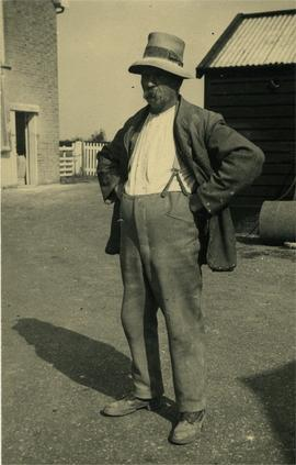 Mr Woods in his yard, Cranley Green Mill, Eye